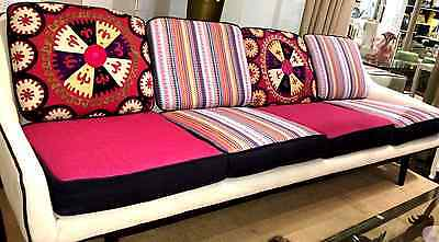 Suzani Vintage Sofa with Embroidered Tapestry Cushions