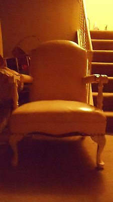 Antique Off-White Ivory Carved Wood Claw Foot Throne Chippendale Style Chair