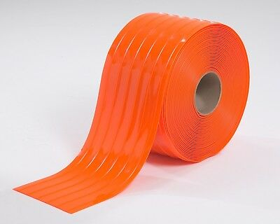 PVC Safety ORANGE RIBBED Vinyl Strip Door Material Bulk Roll X 150' per roll