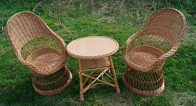 WICKER BASKET GARDEN CONSERVATORY SET INCLUDES COFFE TABLE & 2 CHAIRS NATURAL b