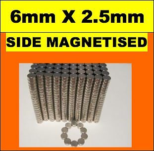 150X DISC Neodymium Rare Earth Magnets 6mm X 2.5mm N45 SIDE MAGNETISED