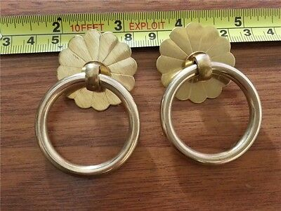 2 PCS Vintage Style Drawer Pull Knob Cabinet Dresser Copper Ring Handle PC001