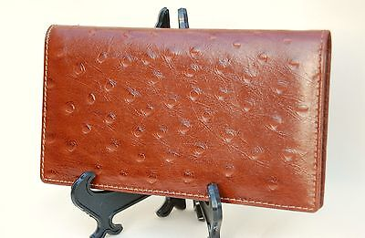 Mohawk Finely Crafted Light Brown/Tan Leather Ostrich Skin Embossed Checkbook