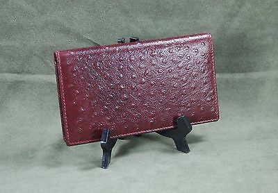 Mohawk Burgundy Finely Crafted Leather Ostrich Skin Embossed Checkbook Cover