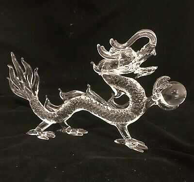 Glass Chinese Feng Shui Dragon With Ball. Handmade (M)