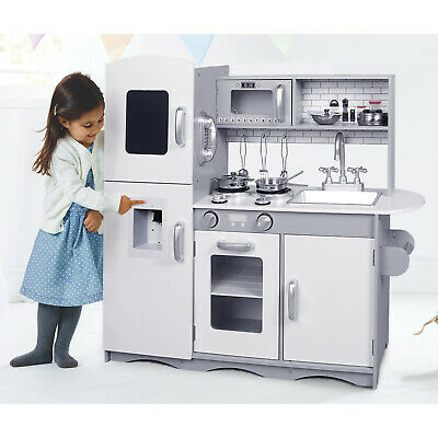 Deluxe Play Kitchen Kids Wooden Toy Boy Girl Children Pretend -Kitchen Only Grey