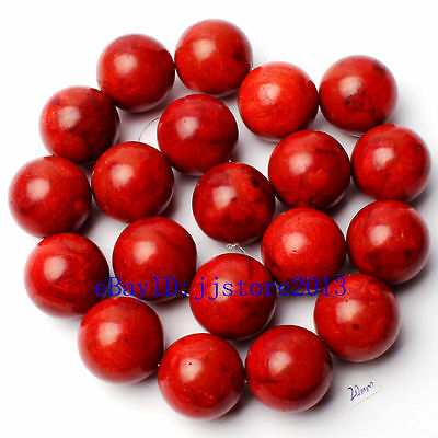 20mm Pretty Natural Sponge Red Coral Round Shape Gemstone Loose Beads Strand 15""
