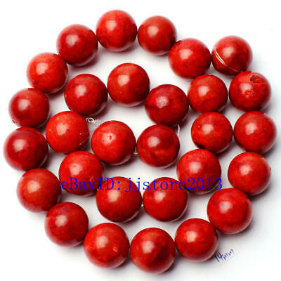 14mm Pretty Natural Sponge Red Coral Round Shape Gemstone Loose Beads Strand 15""