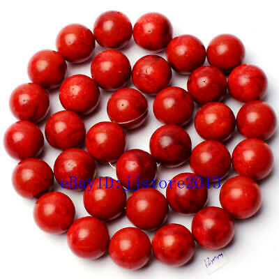 12mm Pretty Natural Sponge Red Coral Round Shape Gemstone Loose Beads Strand 15""