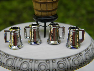 Miniature Dollhouse FAIRY GARDEN Accessories ~ Set /4 Metal Beer Wine Mugs ~ NEW