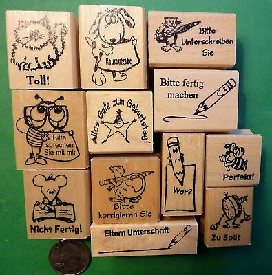 Teacher's German-Only Rubber Stamp Assortment, Wood Mtd