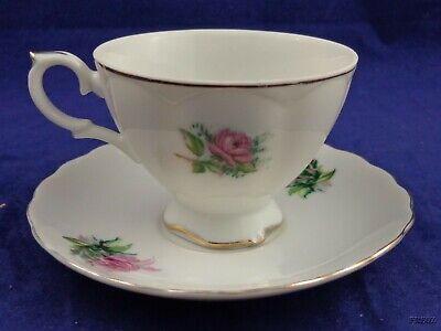 Napco China Tea Cup and Saucer Roses with Gold Trim