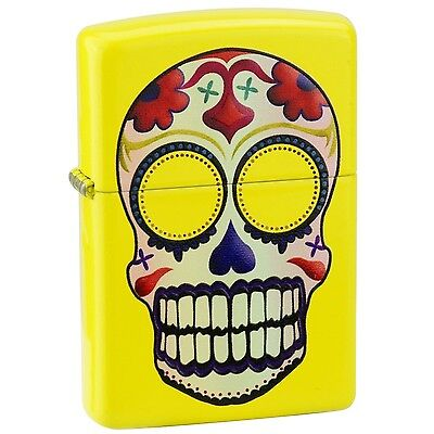 "Zippo Lemon Matte ""Day of the Dead Skull"" Windproof Lighter #24894"