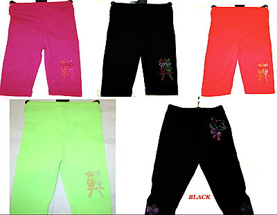Kids Girls 3/4 Leggings Knee Length Short Capri Trouser Pants 2,4,6,8,10,12years