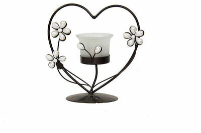 Bulk Lot x 12 Black Metal Curved Heart  With Frosted Glass Candle Holders Stands