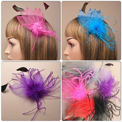 Net And Feather Fascinator On A Beak Forked Hair Clip And Brooch Pin