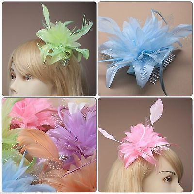 Pastel Feather Flower Fascinator On A Clear Hair Comb Slide