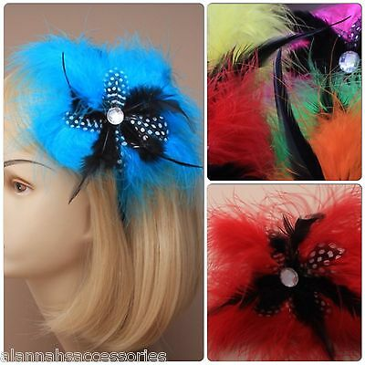 Star Shaped Feather Fascinator With Diamante Centre On Black Aliceband Headband