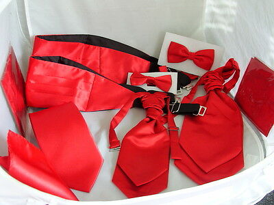 Polyester Shiny Red Collection>Hanky-Bow ties-Neckties-Cravats-Cummerbund & Sets