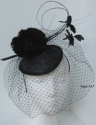 Black Hat Netting Feathers Quill Sinamay Fascinator Wedding Ascot Race Hen Party