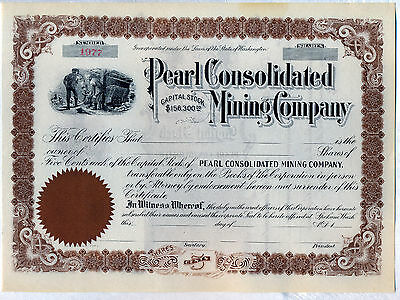 Pearl Consolidated Mining Company Stock Certificate Spokane Washington
