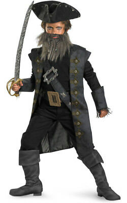 Licensed Child Boys Blackbeard Pirate Of Carribean Fancy Dress Halloween Costume