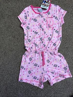 BNWT One Direction 1D girls pink glitter playsuit onesie shorts summer outfit