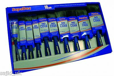 SupaDec DIY Decorating No Bristle Loss 10 Piece Paint Brush Set - FREE P&P