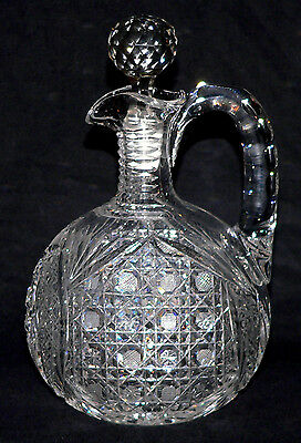 "abp American brilliant cut glass decanter, ovoid, double Hobstar, Harvard, 10""t"