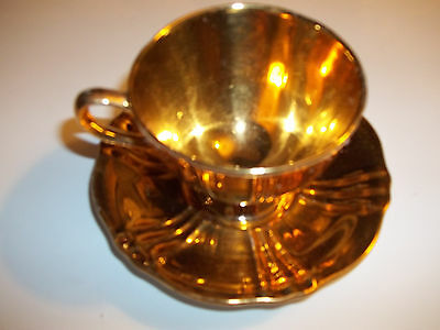 Vintage  Golden age Royal Winton  Gold Cup and Gold Saucer