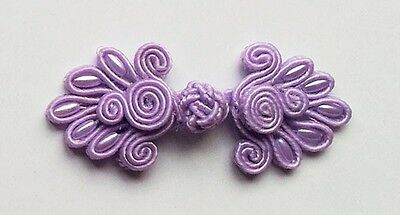 6 pairs lilac bead Chinese Frogs buttons fasteners enclosures sewing NEW