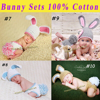 Baby Photo Props Baby Girl Boy Crochet BUNNY Beanie Costume Set Outfit 0-3,3-6M