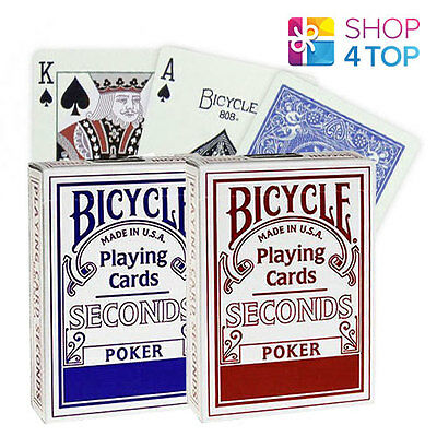 2 DECKS OF BICYCLE SECONDS PLAYING CARDS STANDARD MAGIC TRICKS 1 RED 1 BLUE NEW