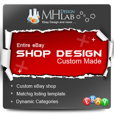Professional Custom ebay Shop Store Design Complete Pages + Listing Template