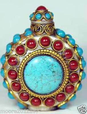 Rare Handcrafted inlay turquoise Red coral Gemstone beads snuff bottles