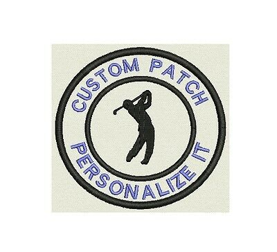 "Golf Custom Embroidered Name Tag, Patch, badge 3.5"" Iron on"