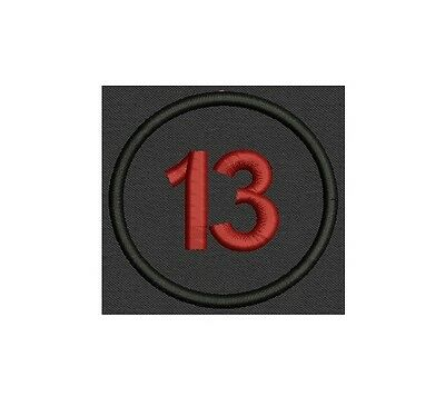 Customizable Embroidred Patch for Biker number 13 Circle Badge, Tag,