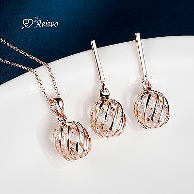 18K Rose Gold Gf Clear Crystal Earrings Filigree Pendant Necklace Set