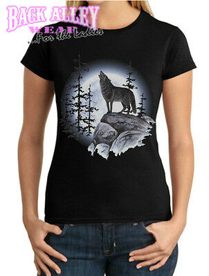 Wolf Country Northern Heritage Tee Wolves Howling At The Moon T-Shirt SM To 5XL