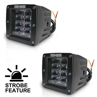 2 x Cube 20W CREE LED Flood Fog Driving Light For Off Road Bar Jeep Dually Truck