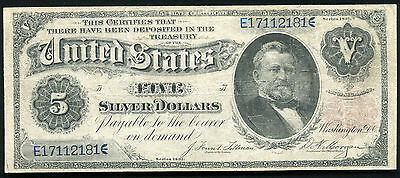 """FR. 267 1891 $5 FIVE DOLLARS """"GRANT"""" SILVER CERTIFICATE CURRENCY NOTE RARE"""
