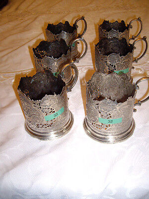 Antique Persian Silver - 6 Tea-Cup Holders Matching Set
