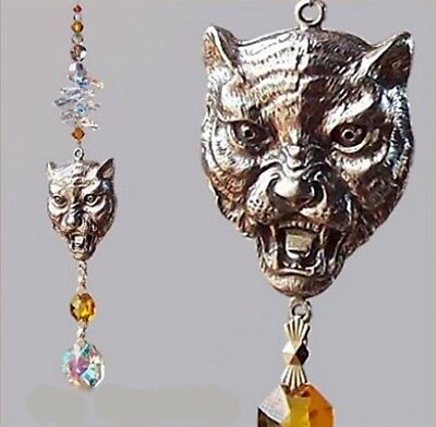 Large Tiger Face Head Suncatcher  made with Swarovski Crystal  & Pewter