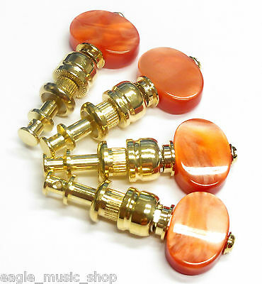 Leader Deluxe Uke / Banjo Tuning Pegs Set of Four - White or Carnelian Pearl