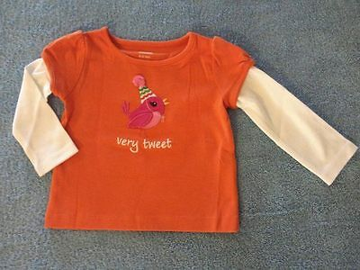 NWT Gymboree Sweet Music Baby Girl Party Bird Double Sleeve Tee, Sz 6-12 Months