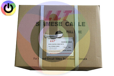 White 500'Ft Bulk Rg59 Siamese Cable 20Awg+18/2 Cctv Security Camera Wire #12038