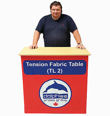 Trade Show Tension Table Promo Counter Banner Stand + Dye-Sablimation Graphics