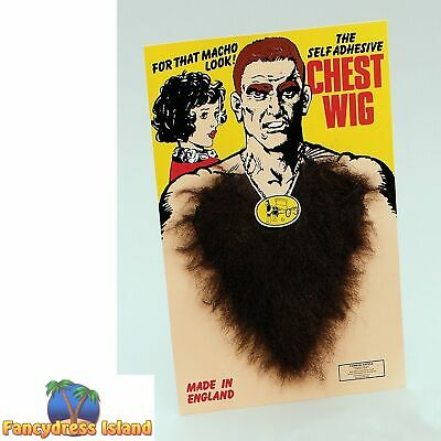 1970's DISCO FAKE BLACK BROWN HAIRY CHEST Mens Fancy Dress Accessory