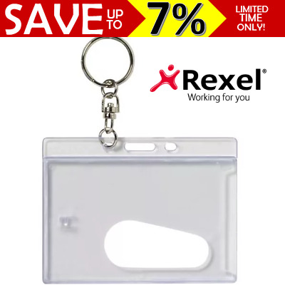 Rexel ID Credit Hard Rigid Name Card Holder 25mm Key Ring Clear 90x65mm 9801912