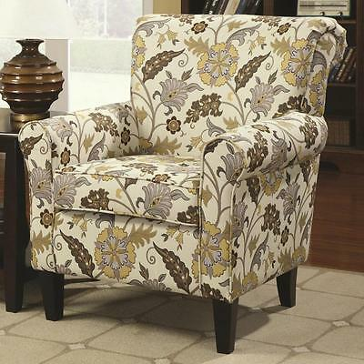 Retro Styled Floral Accent Chair with Decorative Rolled Arms by Coaster 902082
